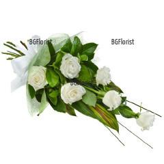 Доставка на Букет от 6 бели  рози