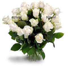 Доставка на букет от бели рози с куриер в София