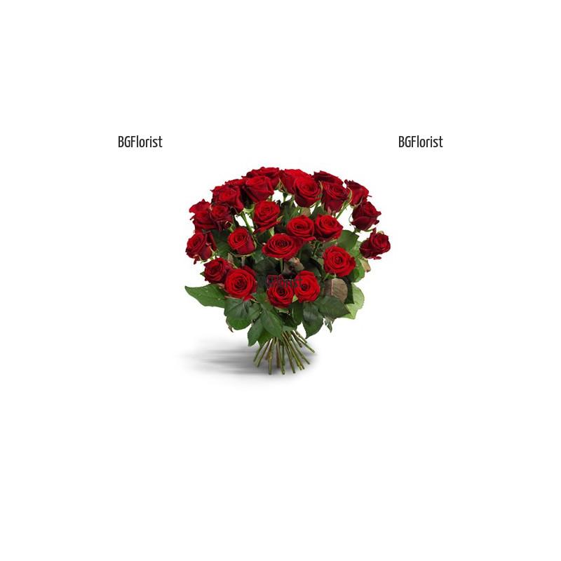 Доставка на червени рози с куриер в София