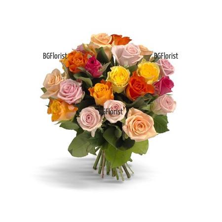 Доставка на разноцветни рози с куриер в София