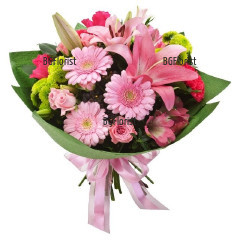 Send bouquet of various pink flowers
