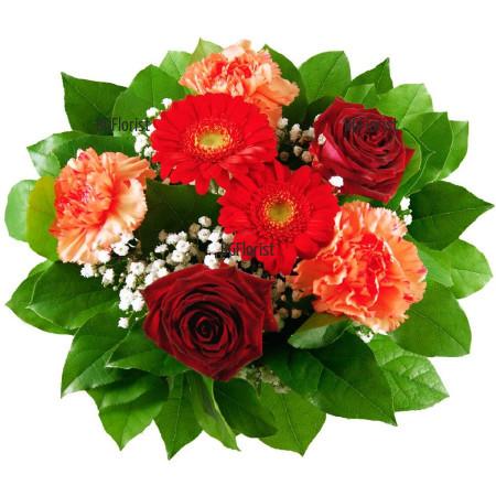 Доставка на букет от рози и карамфили в София