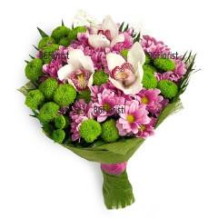 Доставка на букет от орхидеи и хризантеми