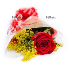 Доставка на букет от една червена роза