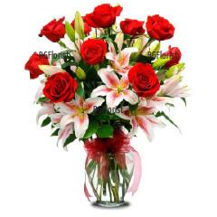 Онлайн поръчка на букет от лилиуми и рози