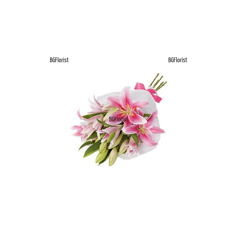 Класически букет от розови лилиуми в София