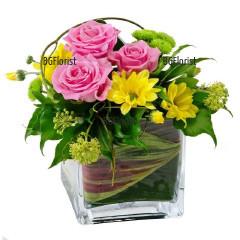 Доставка на аранжировка с рози в Русе