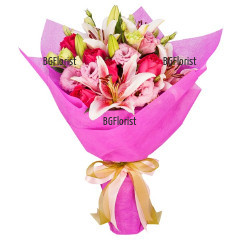 Send bouquet of roses and lisianthus to Sofia