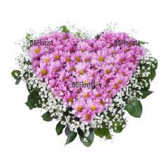 Доставка на Сърце от розови хризантеми в София