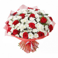 Доставка на Букет от хризантеми и червени рози в София