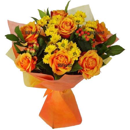 Доставка на Букет от рози и хризантеми с куриер