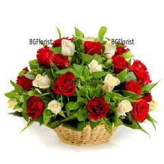 Send a basket with red and white roses