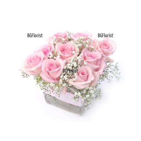 Доставка на Аранжировка от розови рози