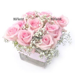 Send arrangement with pink roses.