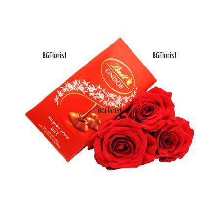 Доставка на Три рози и шоколад в София с куриер
