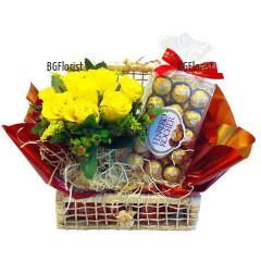 Доставка на кошница с рози и подаръци в София