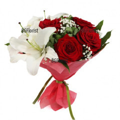 Send bouquet of red roses and white lily to Ruse