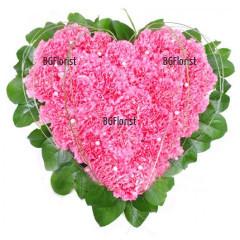 Доставка на Сърце от розови  карамфили в София