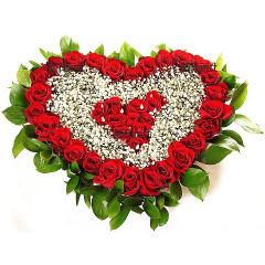 Доставка на Сърце от рози и гипсофила с куриер