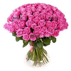 Доставка на Букет от 101 розови рози в София