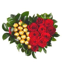 Доставка на Сърце от рози и бонбони в София