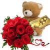Доставка на романтичен букет от цветя и подаръци