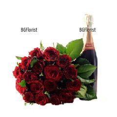 Доставка на Стилен букет от рози и подаръци в София