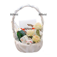 Send satin basket  with gifts