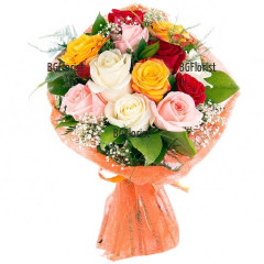 Order bouquet of multicoloured roses