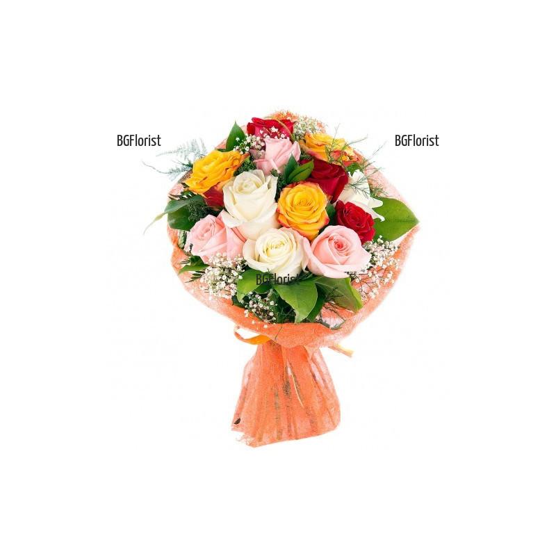 Онлайн поръчка на букет от разноцветни рози