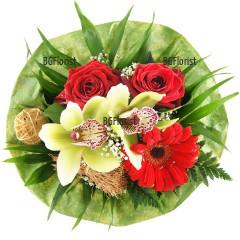 Доставка на букет от рози и орхидеи в Пловдив