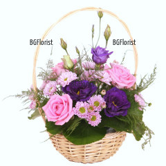 Order basket with roses and eustoma online