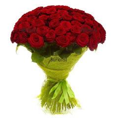 Романтичен букет от 101 червени рози