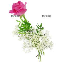 Доставка на една розова роза и зеленина
