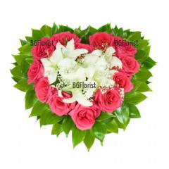 Доставка на сърце от рози и лилиуми с куриер