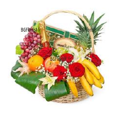 Доставка на кошница с цветя, плодове и подаръци
