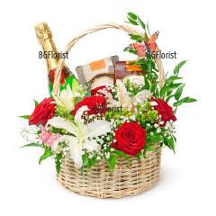 Доставка на кошница с цветя и подаръци с куриер