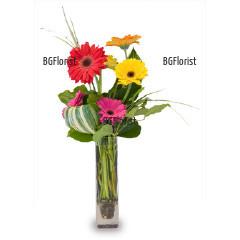 Поръчка на букет от гербери и ваза в София