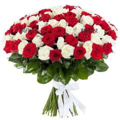 Доставка на 101 рози в два цвята - бели и червени в София