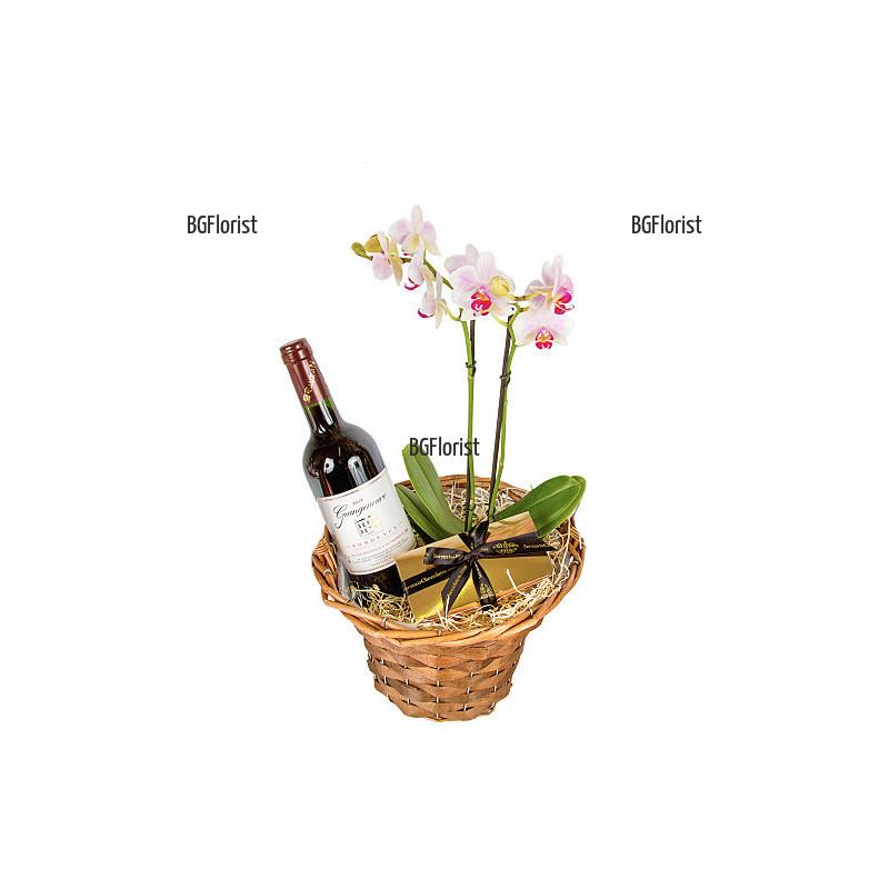 Орхидея и червено вино