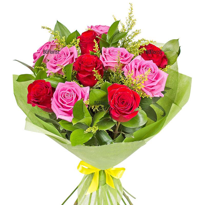 Шарен букет от рози - доставка на цветя в София