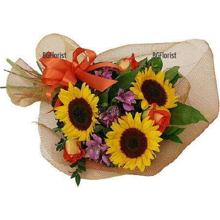 Поръчка на букет от Слънчогледи и цветя в София