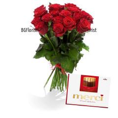 Доставка на букет от рози и шоколадови бонбони