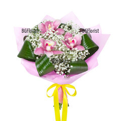 Online order for a bouquet of orchids