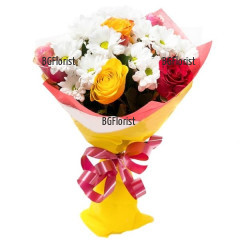 Bouquet of roses and white chrysanthemums