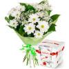 Букет от хризантеми и бонбони Рафаело