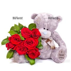 Доставка на романтичен подарък - мече и букет от рози