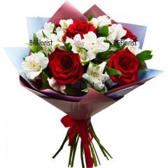 Букет от рози и алстромерии