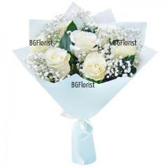 Доставка на букет от бели рози с куриер