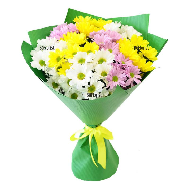 Доставка на букет от разноцветни хризантеми